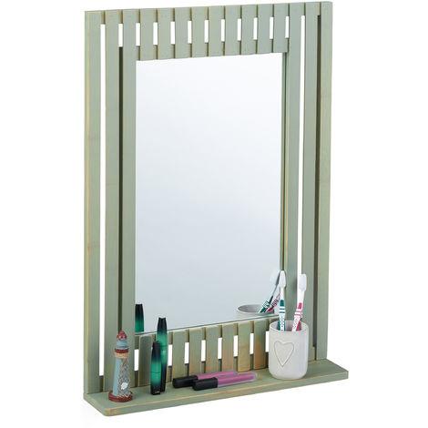 Miroir mural en bambou, avec rangement, rectangulaire, salle de bain, couloir, HLP: 70 x 50 x 10,5 cm, vert