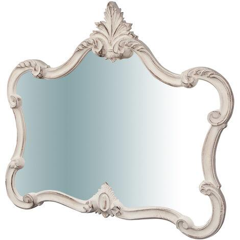 Miroir mural en bois, finition blanc antique, , L71XPR5XH82 cm Made in Italy