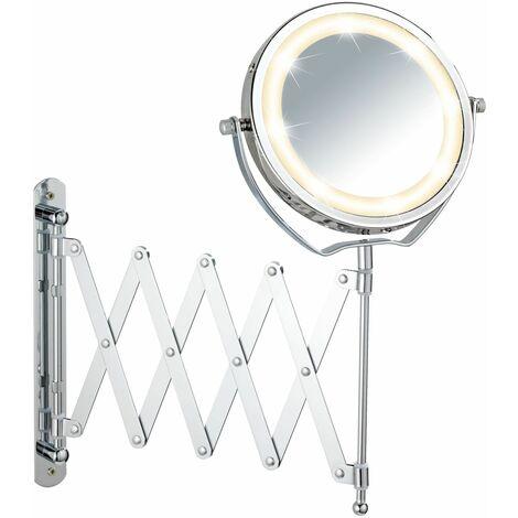Miroir mural grossissant rétro-éclairé par LED - Diam. 15 cm