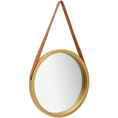 Miroir mural , Miroir rond de toilette miroir suspendu, cadre miroir goutte d'eau pour salle de bain, chambre ou salon, style vintage - Or