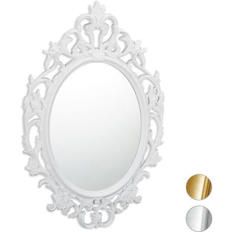 Miroir mural nostalgie, Miroir à accrocher vintage, décoration murale, H x B: 39,5 x 39,5 cm, blanc