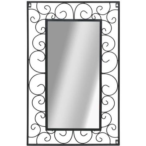 Miroir mural Rectangulaire 50 x 80 cm Noir