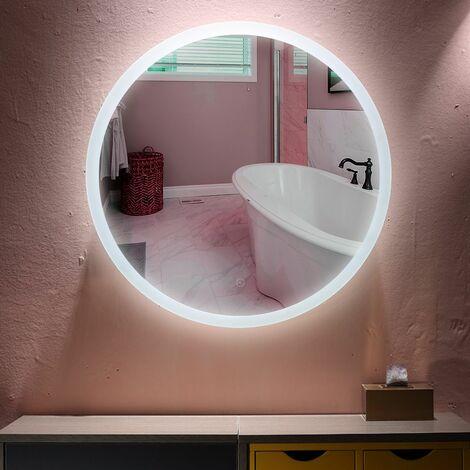 Miroir Mural Rond Lumineux Salle De Bain LED Éclairage Avec Fonction Anti Buée Blanc Froid 6500K 60cm