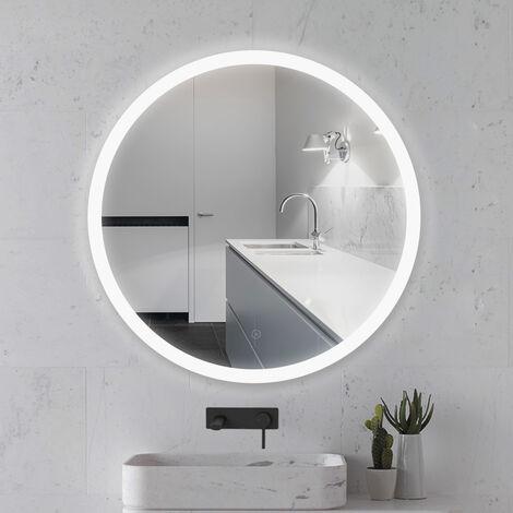 Miroir Mural Rond Lumineux Salle De Bain LED Éclairage Avec Fonction Anti Buée Blanc Froid 6500K 80cm