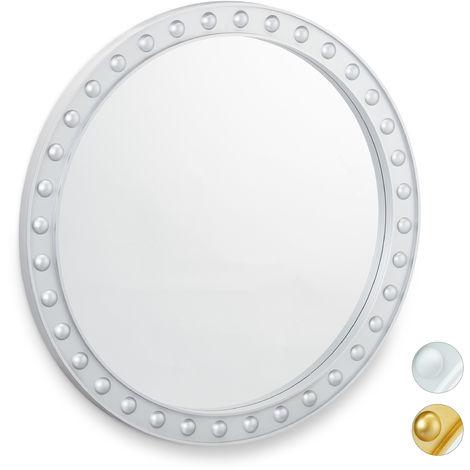 Miroir mural rond, Miroir à accrocher, Salon, salle de bain & WC, ∅ env. 50,5 cm avec cadre, argenté