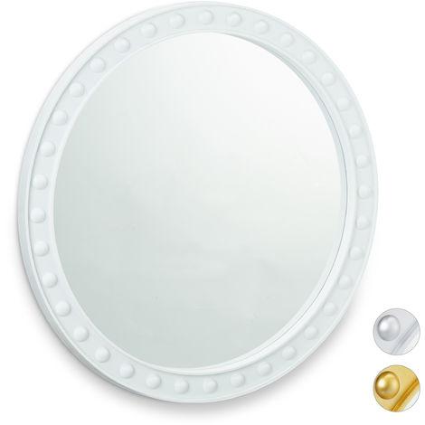 Miroir mural rond, Miroir à accrocher, Salon, salle de bain & WC, ∅ env. 50,5 cm avec cadre, Blanc