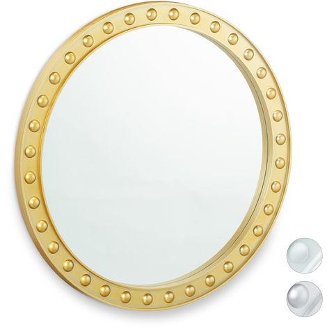 Miroir mural rond, Miroir à accrocher, Salon, salle de bain & WC, ∅ env. 50,5 cm avec cadre, doré