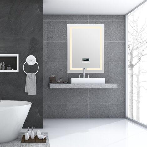 Miroir Mural Salle de Bains avec eclairage LED 24 W lumineux reglable anti-buee avec Bluetooth 60*80 CM