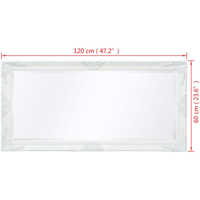 Miroir Mural Style Baroque 120 X 60 Cm Blanc
