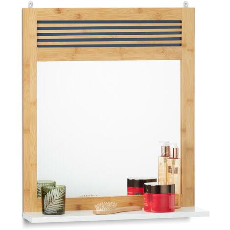 Miroir mural tablette, Glace bois lamelles, entrée, salle de bains, bambou, HLP 61 x 53 x 15 cm, nature/blanc