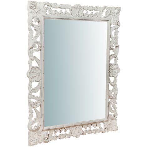 Miroir murale en bois affichage verticale/horizontale finition blanche vieillie aux dimensions L70 xPR4 xH90 cm Made in Italy