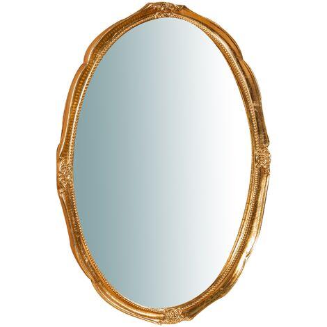 Miroir murale en bois affichage verticale/horizontale finition feuille or vieilli aux dimensions L53 xPR3,5 xH72