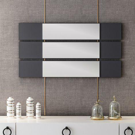 Miroir Otto avec 3 Panneaux - pour Salon, Chambre, Salle de Bain - Anthracite en Bois, 15 x 2 x 90 cm