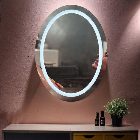 Miroir ovale anti-buée de salle de bain blanc froid 80 * 60 * 4.5cm