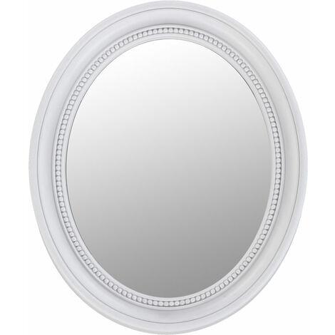 Miroir ovale blanc Miroir mural vintage blanc Miroir baroque blanc, ornements, LxH 41,7x 50,5 cm