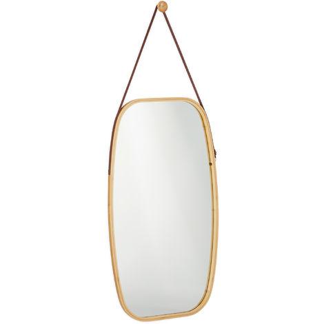 Miroir ovale mural suspendu, Glace décorative à suspendre en bambou, chambre, salon, HxL 76,5 x 43,5cm, nature