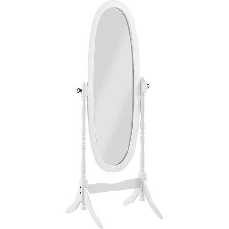 Miroir Psyché Charme sur pied bois blanc - Dim : L 59 x P 49.5 x H 150 cm