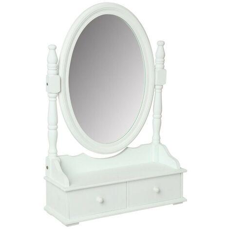 Miroir Range Bijoux 2 Tiroirs 75cm Blanc
