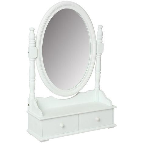 Miroir / range-bijoux en MDF de 2 tiroirs, blanc - Dim : L.50 x l.18 x H.75 cm