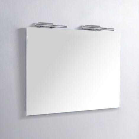 Miroir Rectangle de salle de bain - Lampes LED - 120x80 cm - Classic Scandinave 120