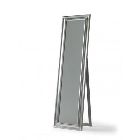 Miroir rectangulaire en bois argenté et pied BENI - L 50 x l 180