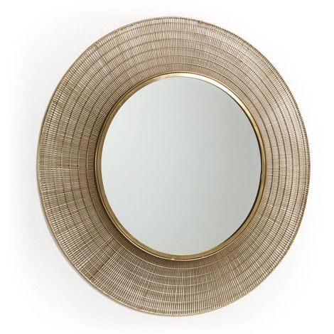 Miroir rond 80 cm métal doré AUBAN - L 80 x l 80 x H 2