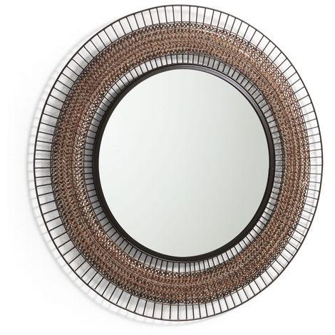 Miroir rond 90 cm métal cuivre et noir AGNEL - L 90 x l 90 x H 2