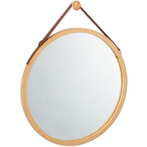 Miroir rond à accrocher, lanière réglable, En bambou, moderne, couloir, salle de bain, ∅: 45 x 60 cm, naturel