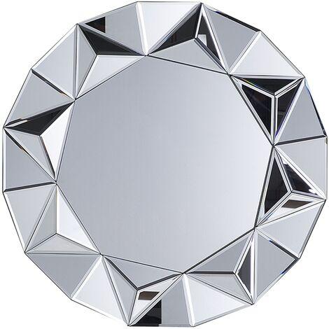 Miroir rond argenté HABAY