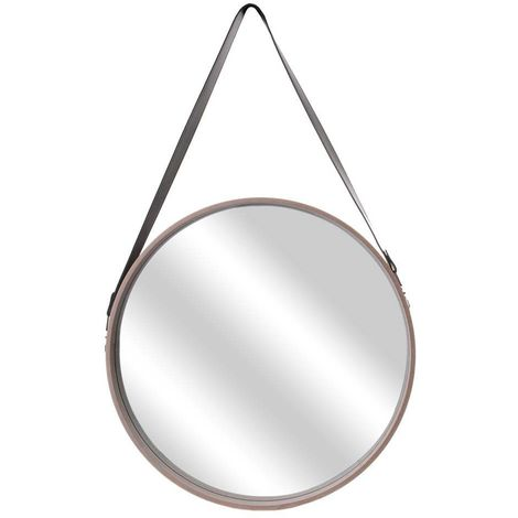 Miroir rond avec anse imitation cuir Barber 50 cm - Beige