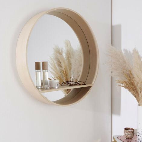 Miroir Rond avec Étagère Bois D60 cm OBLO - Bois clair