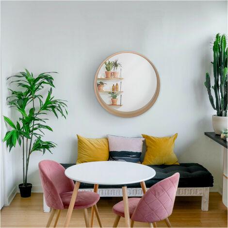 """main image of """"Miroir Rond Design en Bois D80 cm VALI - Bois clair"""""""