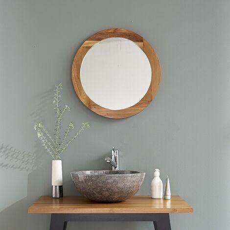 Miroir rond en bois de teck