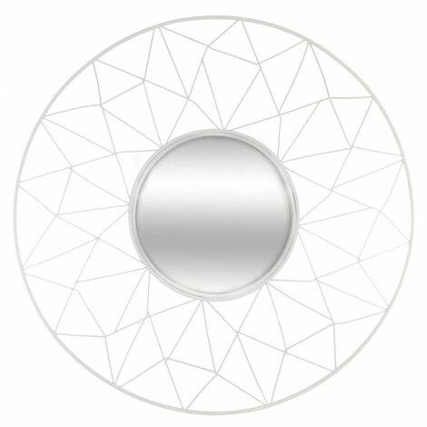 Miroir rond en métal - Belle journée - D 50 cm - Blanc