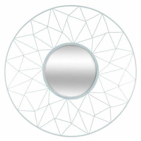 Miroir rond en métal - Belle journée - D 50 cm - Bleu