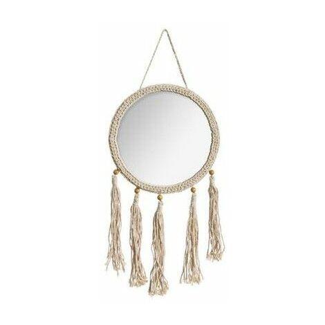 Miroir rond Été en corde - L 31 x H 52 cm - Beige - Livraison gratuite