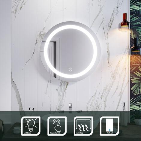 """main image of """"Miroir de salle de bains 50x80cm avec éclairage LED arrière interrupteur tactile installation verticale ou horizontale"""""""