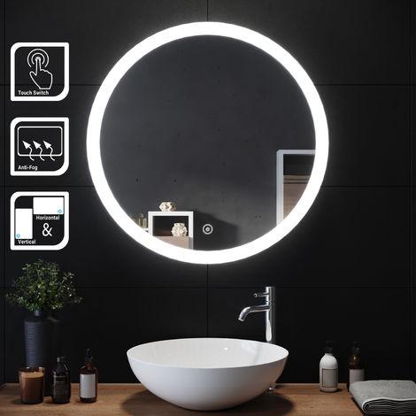 """main image of """"Mioir led salle de bains ronde anti-buée capteur tactile miroir de maquillage"""""""