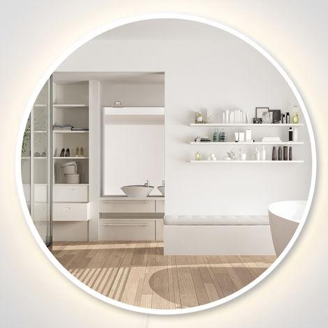 Miroir rond lumineux LED de salle de bain lumière ajustable 28 W bois gris