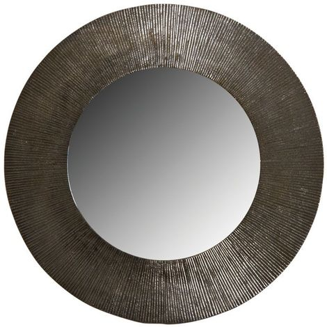 Miroir rond métal zinc antique