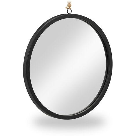 Miroir rond, mural, avec corde, moderne, à suspendre, 40 cm, métal, pour couloir, salle de bain, salon, noir