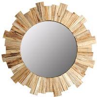 Miroir rond soleil en pin