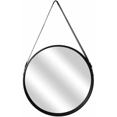 Miroir rond style barbier anse simili cuir 50 cm - Noir
