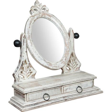 Miroir sablière pour Cadre porte photo en bois avec tiroir en finition blanc antique avec tiroir L45xPR14xH45 cm