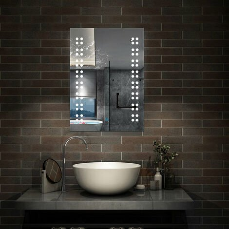 Miroir salle de bain 50x70cm anti-buée Mural Lumière Illumination avec éclairage LED