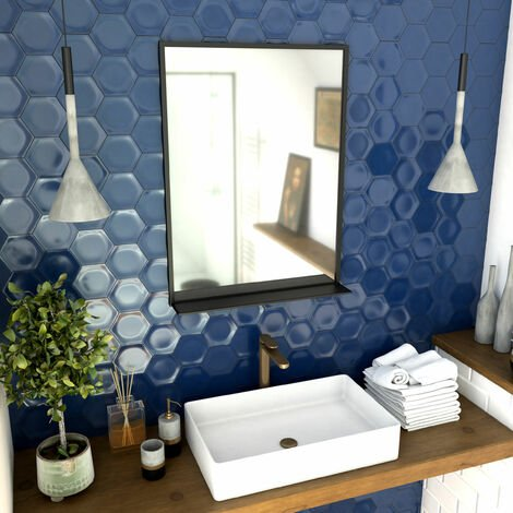 Miroir salle de bain 80x60cm - laqué noir mat avec étagères - FRAMED MIRROR