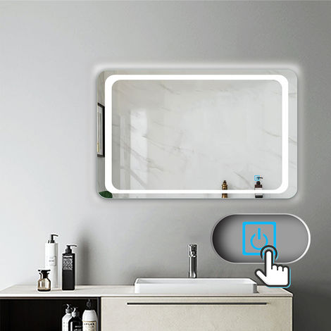miroir salle de bain 80x60cm anti bu e mural lumi re. Black Bedroom Furniture Sets. Home Design Ideas