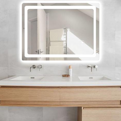 Miroir Salle de Bain avec Eclairage anti-brouillard Miroir LED 60*80cm