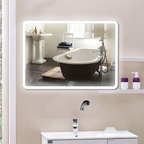 Miroir salle de bain avec éclairage miroir LCD pour salle de bain