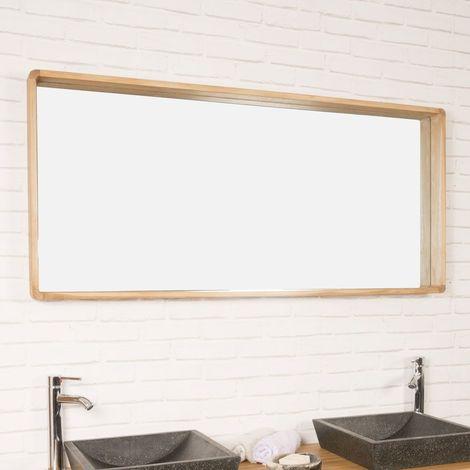 Miroir salle de bain en teck Samba 140 x 65 cm